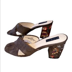 Eloquii Brown Faux Suede Sandal Floral Embroidery